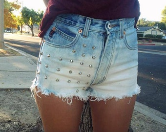 High Waisted Denim Jean Shorts Bleached