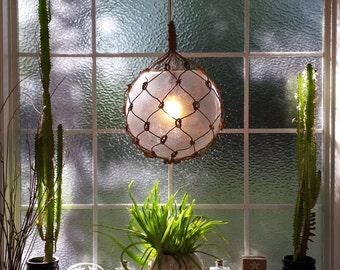 Nautical Ceiling Light Pendant, Hanging Lamp, Tiki, Fishermans Float, Rope Lamp, Beach Decor, Nautical Home Decor, Fishnet, Sea, Sailing