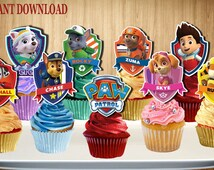 PAW PATROL Cupcake Toppers, Paw Patrol Cake Toppers, Paw Patrol Cupcake Picks, Double-Sided, Digital File, You Print