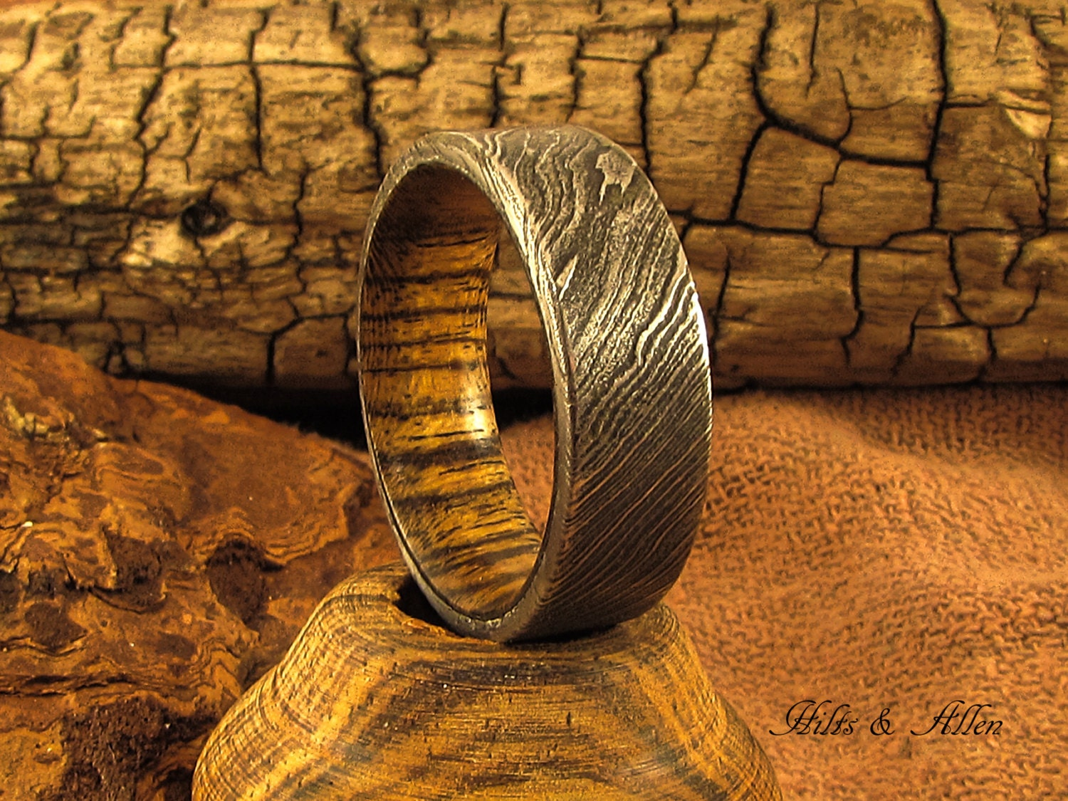 damascus steel ring damascus steel wedding bands Damascus steel and Bocote Ring