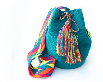 Teal mochila bag, bag with tassel, ethnic bag, messenger bag, bucket bag, colorful bg, gift for her, ethnic, statement bag, cotton bag