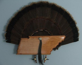 Wild Turkey Tail Fan Mount - Cherry- State of Tennessee