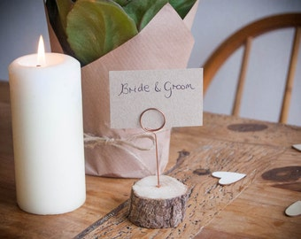 Rustic Wooden Table Number Holders / Table Name Holders / Photo Holders / Place Card Holders | Weddings | Copper & Wood | *FREE SHIPPING*