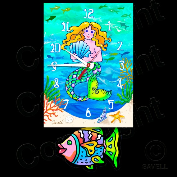 Mermaid Clock with Swinging Fish Pendulum • Beach Clock