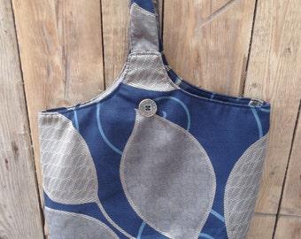 Blue Patterned Barrel Bag