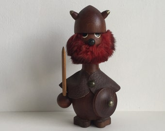 Vintage Danish modern Teak large 24 Cm Viking Gonk figurine Hans Bolling Orskov and co era