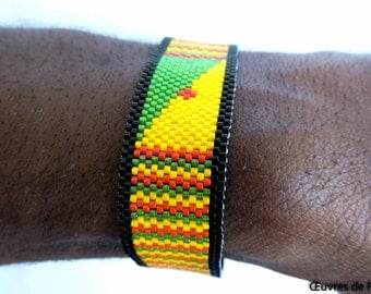 Handmade Miyuki beaded rasta bracelet in peyote stitch black red yellow green - Peyote beaded cuff - rastafarian jewelry - man bracelet