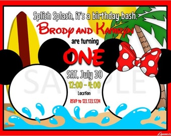 Mickey and Minnie pool party birthday invitation