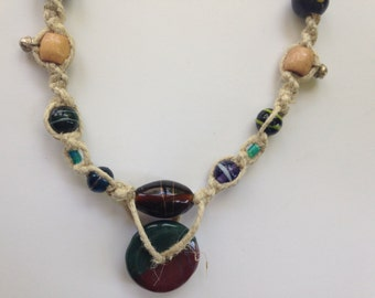 Green and Red Disc Chunky Hemp Necklace with various accent beads