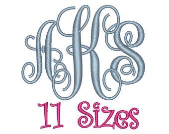 Interlocking Monogram Embroidery Font 11 Sizes Machine BX Embroidery Fonts Embroidery Monogram Fonts 3 Letter Monogram - Instant Download