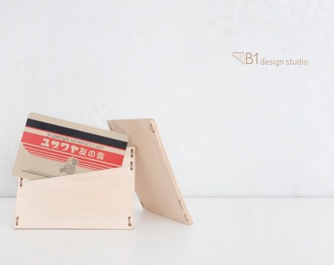 Leather Cardholder, Simple Cardholder, Slim Cardholder, Light Color Leather, Gift for Friends, Leather Card Case, Wooden Cardholder