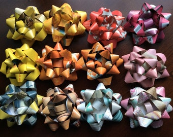 rainbow colored recycled gift bows