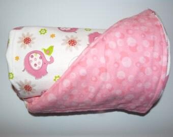 Receiving Blanket - Pink & Green Elephants