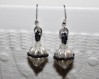 Cute pearl beaded handmade earrings; beadweaving