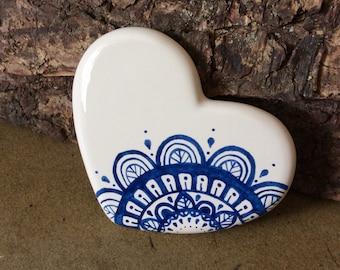 Handmade ceramic mandala heart coaster