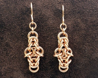 Byzantine Cross Chainmail Earrings - 14kt Rose Gold Fill