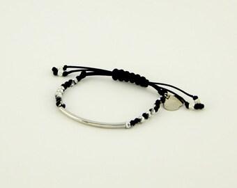 Glass Beaded Bracelet/Curved Bar/Adjustable Bracelet