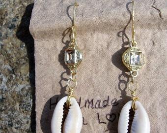 Crystal Cowrie Shell Earrings