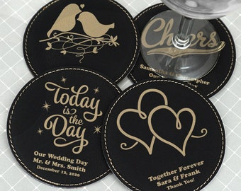 Wedding Coasters, Personalized Faux Leather Coasters, Round, Black - Set of 4