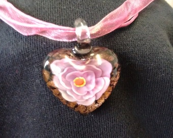 Small Glass Heart with a flower pendent