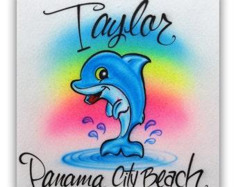 Airbrush Rainbow Dolphin T-shirt, Airbrush Dolphin tshirt, Airbrush tshirt, Rainbow Dolphin T-shirt, Dolphin shirt, Dolphin, Rainbow