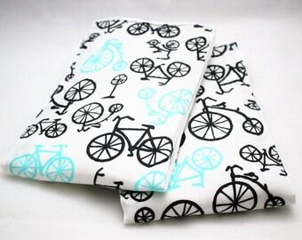 Bicycle RIDE Premium Baby Burp Cloths - Set of 2 - Modern White Bike Print