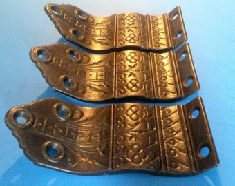 Antique Handrail Brackets, Eastlake Flat Style Cast Iron, For Railing, Banister...Set of 3 Each, ca. 1875