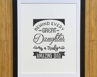 Father's Day Print - Hand Pressed