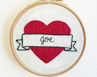 Custom embroidered tattoo hearts