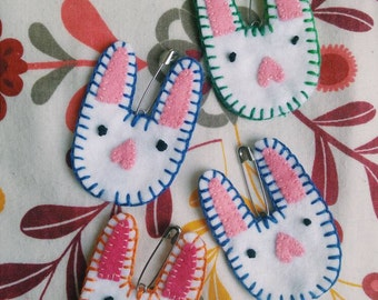 Handmade Felt Bunny Pin