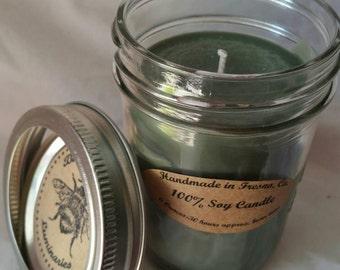 Oakmoss scented 8 oz. Mason Jar 100% Soy MANdle