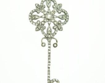 pave white topaz key pendant