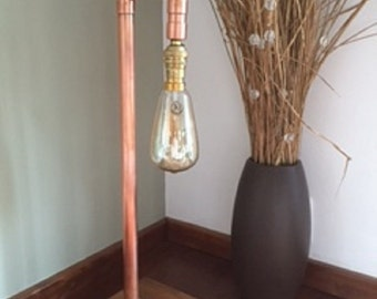 Industrial copper lamp with edison bulb light