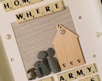 Pebble art Home is where the army sends us pebble frame