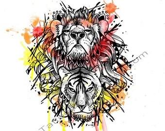 Geometric Lion and Tiger - Tattoo Design