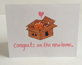 New Home Kitty in a Box card