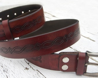 Mens Leather Belt,  Antiqued, Stamped, Top quality vegetable tanned leather, Cow belt