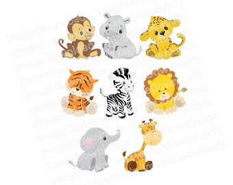Cute Baby Safari Animals // Jungle // Monkey // Hippo // Leopard // Tiger // Zebra // Lion // Elephant // Giraffe