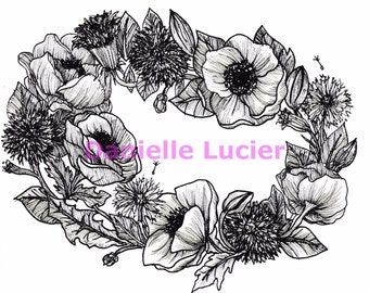 Floral Wreath Original Print