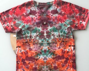 Tie Dye Handcrafted V-Neck T Shirt (Free Shipping)
