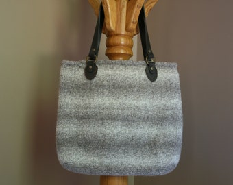 Taupe and cream wool felt tote bag