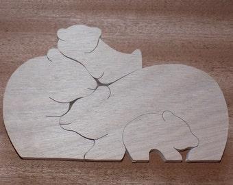 Puzzle bear family