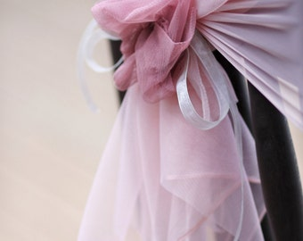 Fabric tulle decoration for wedding chair with fabric flower in pink/chair cover/ Event Reception Bridal Shower Wedding Engagement Decor