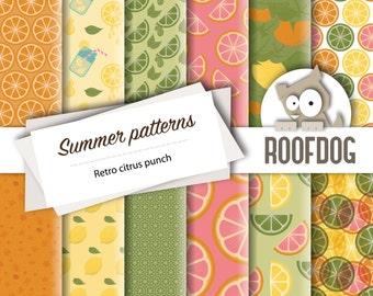 Summer fruit digital paper | lemon lime orange grapefruit retro | digital paper pack instant download | summer digital paper background |