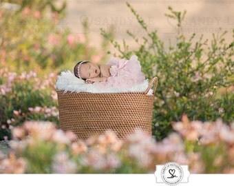 Newborn Digital Backdrop - Weaved Basket Flower Garden Background Composite