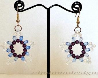 Splendid Swarovski Crystals Purple Snowflake Handmade Earrings