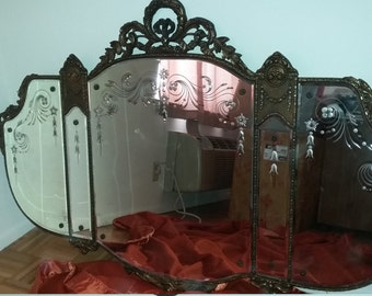 Vintage Antique Mirror with Etched Detail