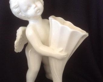 Angel/Cherub Cornucopia Ivory Porcelain Bud Vase