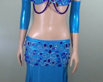 high quality turquoise belly dance costume