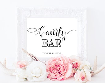 Candy Bar, Candy Bar Sign, PRINTABLE Art, Reception Table Sign, Wedding Print, Wedding Sign, Wedding Candy Table, Wedding Decor, Candy Sign